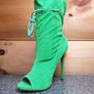 Mona Mia Alectrona Open Toe Preforated Drawstring Mid Calf Boot 6-10 Kelly Green