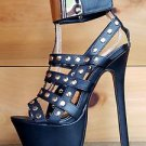 RK Cover Girl Black Button Stud Cage Boot Cut Out Strap Platform Shoe 6-8.5
