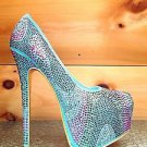 Alba Yang 25 Mint Multi Color Rhinestone Platform Pump Shoe Sizes 10 8.5 6