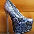 "Liliana Aisha 8 Silver Hologram Python Snake Pump 6"" Heel Platform Shoe 5.5 - 10"