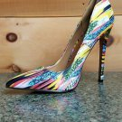 Alba Jamie Yellow Multi-colored Pointy Toe Pump Stiletto Heel 6-11