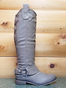 Rider 16 Taupe Beige Leatherette Buckle Cowboy Riding Boot 6-11