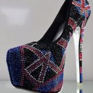 Alba Yang 18 Black Iridescent Multi Colored Rhinestone Platform Pump 7- 11 Shoe