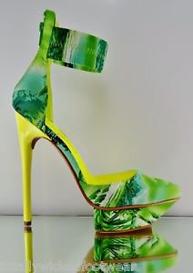 Privileged Viviette Green Yellow Multi Tropical Ankle Cuff Platform Shoe 7-11