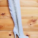 "Zigi NY's London Trash Croix White Suede Elastic Side Platform Knee Boot 7"" Heel"