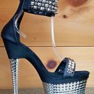 Illusion 670 Black Leatherette Silver Textured Platform Studded Ankle Cuff Shoe