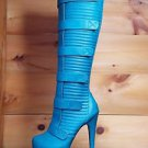 Privileged Harley Teal Blue Platform Sexy Biker Platform Knee Boot 7.5 8 8.5
