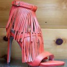 "Wild Rose Triple Fringe Melko Jersey Orange 4.5"" Heel Sandal Shoe 7-11"