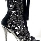 "Fantasia Flower Cutout Black Suede Rhinestone Ankle Boot 6"" Stiletto Size 12"