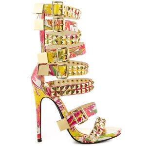 Navaeh White Floral Gold Studded Multi Strap Sandal High Heel Shoe 7-11