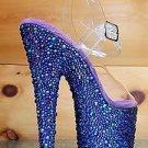 "Bejeweled 708MS Purple Multi Rhinestone Platform Clear Ankle Strap  Shoe 7"" Heel"