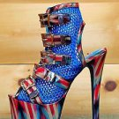 Privileged V lush Mesh Red Blue Multi Ankle Boot Open Toe Stiletto Heel Shoe