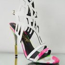 Lust for Life Fusion Multi Neon White Snake Skin Leather Cut Out Vamp Shoe 7-11