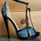 Alba Amanda Blue Multi Floral Print Corset Lace Front Ankle Strap Stiletto Heel