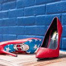 Taylor Says American Skull Red Texture Snake With Graphic Print Sole Shoe 6-12