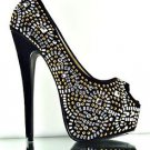 Red Kiss Celine Black Rhinestone & Studs Platform Peep Toe Pump Evening Heels