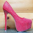 Alba Yang 52 Red Rhinestone Covered Platform Pump 9 & 10 Evening Party Shoe