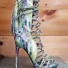 Nelly Paris Green Multi Snake Open Toe Lace Up 4.75 Heel Ankle Boot 6.5 -12