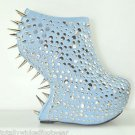 """Privileged Rosewell  BLUE Dragon Scale 7"""" Heel Less Wedge Platform Shoe Size 9"""