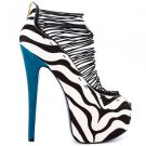 Zigi NYs London Trash Crush Zebra Pony Hair Platform High Heel Shoe