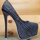 Alba Yang 52 Black Rhinestone Covered Platform Pump Sizes 7 8 9 Party Shoes
