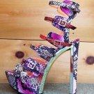 Privileged Raya Purple Orange Snake Print Strap Vamp Open Toe Chunky Heel 7-11