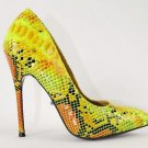 Fierce 21 Green Yellow Orange Snake High Heel Pointy Toe Pump Shoe 7-14 Support