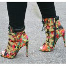 "Multi-Color Fleek Gold Band Open Toe Ankle Boot Shoe 4.5"" Heel 7-11 Nelly"