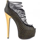 Zigi NYs London Trash Crush Black Gold Scale Platform High Heel Shoe