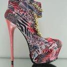 "Mona Mia Chibela Pink Animal/Floral Print Chain Vamp 6"" Heel PF Ankle Boot Size9"