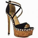 Luichiny Le Andra Black Linen Cork High Heel Platform Crossed Ankle Strap Shoe