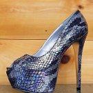 Luichiny Mal Oree Iridescent Black Snake Print Peep Toe Platform Pump Shoe 7-11