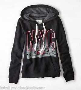 AMERICAN EAGLE AE Black NYC Pink Graphic Hoodie Sweatshirt Large