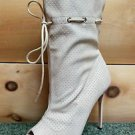 Mona Mia Alectrona Open Toe Preforated Drawstring Mid Calf Boot 7-11 Nude