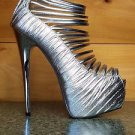 Elle 32C Metallic Silver Pleated Upper Strappy Platform Shoe Sizes 7.5 & 8.5