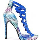 "Athena Aleesha Blue Multi 4"" Heel Lucite Floating Vamp Open Toe Shoe 6.5 - 8"