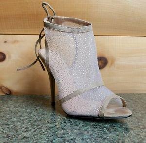 Baker Zigi Nude Mesh Slingback Open Toe  Stiletto Sandal Shoe Silver Glitter