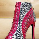 "Athena Red Tan Abstract Print 4.5"" Heel Open Toe Ankle Boot Sizes 6.5-9"