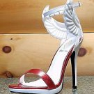 Athena Fly Girl Winged Closed Back Ankle Strap Sandal Shoe White Metallic Red