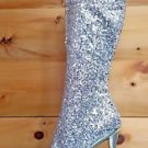 Blondie Silver Sequin Open Toe Dual Rhinestone Platform Knee Boot Size 11