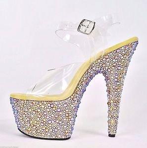 "Bejeweled 708 MS Gold Rhinestone Platform Clear Strap Shoe 7"" Heel Size 9 & 10"