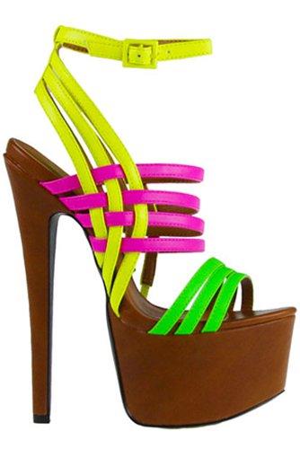 "Cubana Cognac Platform Neon Yellow Green Pink Ankle Wrap Sandal Shoe 7"" Heel"