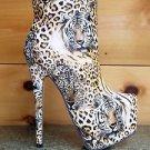Elle Tiger/Leopard Textured Print Platform Ankle Boot Size 7