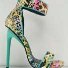 "Privileged Kyte Teal Gold Abstract Print Closed Back Sandal Shoe 5"" Heel 6 / 8.5"