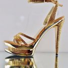 "Fascinate 637DM Gold Suede Rhinestone Ankle Strap Platform 6"" Heel Shoe 6 & 11"