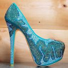 Alba Lola 8 Rhinestone Sea Green Gold Platform Stiletto Heel Shoe Pump 6.5 - 8.5