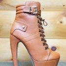 Mona Mia Venisha Tan Leatherette Lace Up D Ring Buckle Banana Heel Ankle Boot