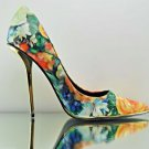 """Privileged Meloni Muti Floral 5"""" Gold Heel Single Sole Pointy Toe Pump Size 7"""