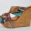 "Luichiny E Lectric Teal Tan Snake Cork Covered Wedge Sandal Shoe 5"" Heel"