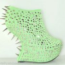 "Rosewell Studs & Spikes Mint Green Dragon Scale 7"" Heel Less Wedge Shoe Size 7.5"